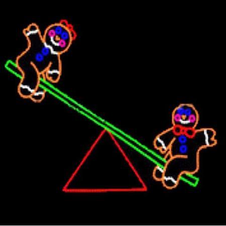 100cm Led Rope Light Gingerbread Men On See Saw Christmas Light Motif
