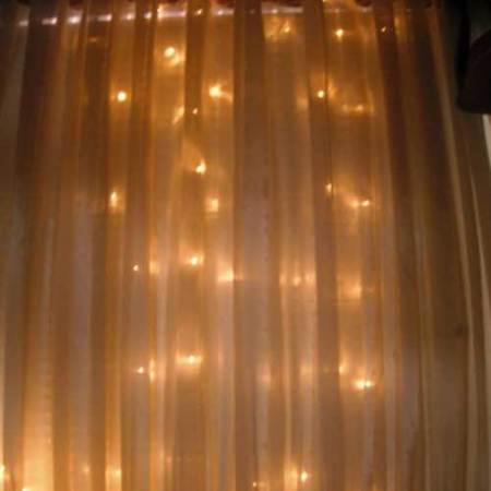 360 light LED Curtain 6 metre x 2.5 metre Drop Warm White on clear wire