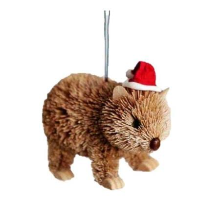 7cm Wombat with Christmas Hat Hanging Christmas Tree Ornament