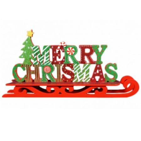 Timber Merry Christmas Sleigh Shaped Christmas Sign Decoration