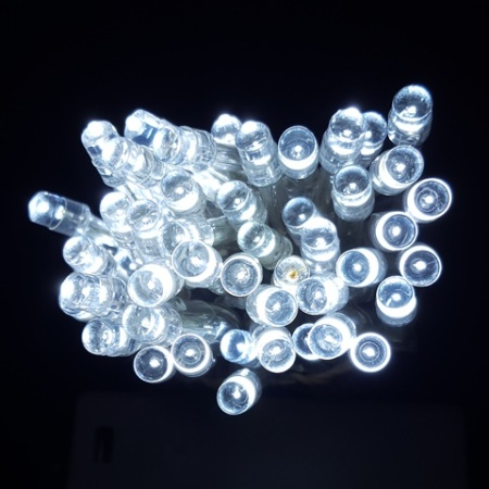 100 light Battery Operated LED Wedding fairy lights 10 metres White On Clear Cable