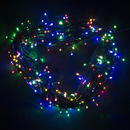 600 Multi Colour LED Fairy Lights on Green Wire 55 metres