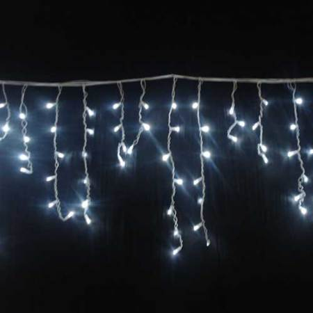 7.5m 267L White LED Icicle Lights Clear Wire