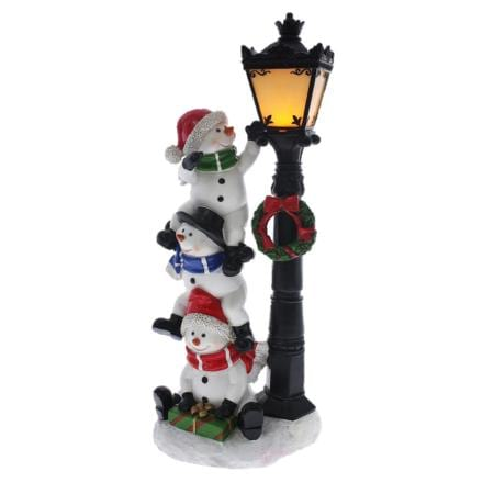 35cm light up led ceramic triple snowman stack with lamp post christmas decoration