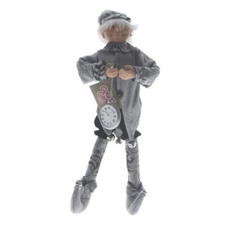Silver & Black Stop Watch Elf Christmas Decoration