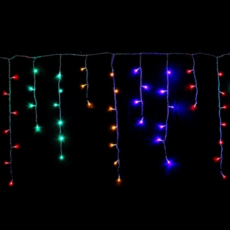 21m 500L Multi Colour LED Icicle Lights Clear Wire