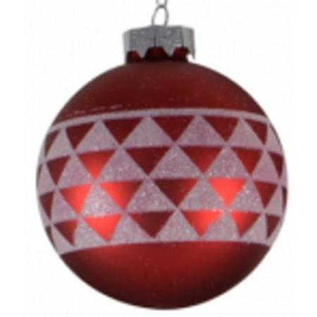 80mm Red Glass Bauble with White Geometric Print Christmas Tree Decoration B