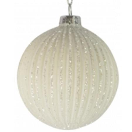 80mm White Glitter Glass Bauble Christmas Tree Decoration 2