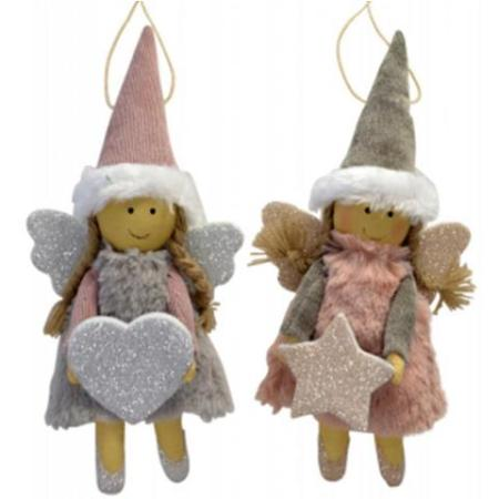 25cm Pink White and Grey Hanging Angel Christmas Decoration 2 Assorted