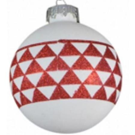 80mm White Glass Bauble with Red Geometric Print Christmas Tree Decoration C