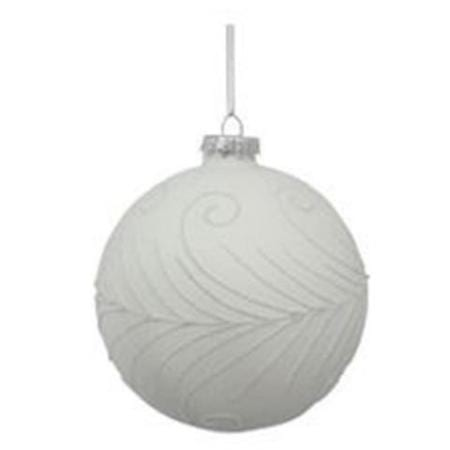 100mm White and Silver Glitter Glass Bauble Christmas Tree Decoration A
