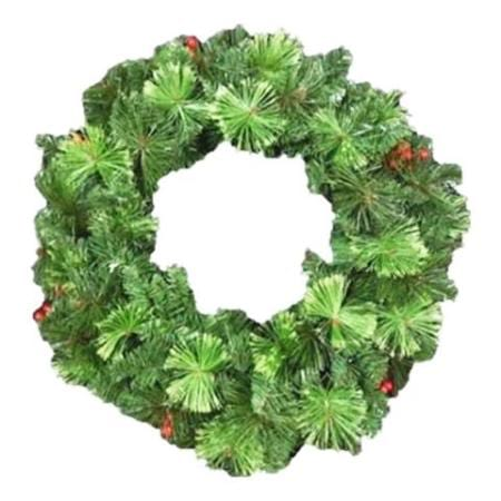 60cm Green Wreath with Berries and Cones