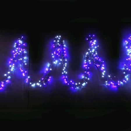 800L 14m Cluster LED Fairy Lights with Waterfall function in Blue and White