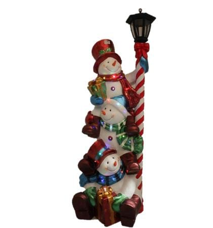 LED 100cm Outdoor Ceramic Triple Snowman Stack with Lamp Christmas Decoration