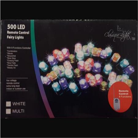 500 LED Multi Colour Fairy lights 24.95m Green Wire w/remote On Sale