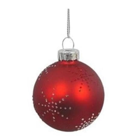 60mm Red & White Snowflake Glass Bauble Christmas Tree Decoration B