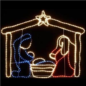 Led Nativity Scene Christmas Rope Light Silhouette