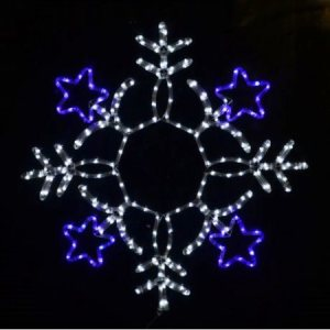 80cm Led Blue And White Rope Light Snowflake With Stars
