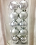 Pkt 10 100mm Shiny and Matt Silver Christmas Baubles
