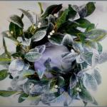55cm Green and White Leaf Wreath with White Berries