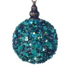 75mm Peacock Glimmer Bauble Christmas Tree Decoration