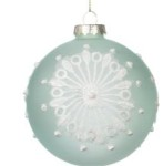 100 mm Pastel Mint Round Glass Bauble Christmas Tree