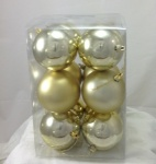 Pkt 12 80mm Christmas Tree Decoration Bauble Pack in Gold