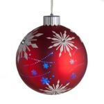 100mm Glass Snowflake Bauble Christmas Tree Decoration Red