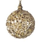 100 mm Champagne Glimmer Bauble Christmas Tree Decoration
