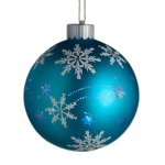 100mm Glass Snowflake Bauble Christmas Tree Decoration Blue