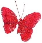 150mm Wool Lace Butterfly Clip Christmas Tree Decoration Red