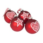 100mm Red Heart Design Glass Bauble Christmas Tree Decoration
