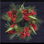 60cm Red Berry Pine Cone Wreath
