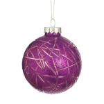 75mm Etch Purple Glass Bauble Christmas Tree Decoration