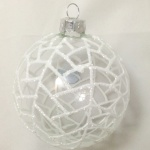 75mm Solstice Weave White on Clear Glass Bauble Christmas Tree Decoration