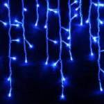 500 Light LED Icicle Lights Blue on Clear Wire  21 metre