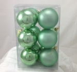 Pkt 12 80mm Christmas Tree Decoration Bauble Pack in Mint