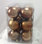 Pkt 12 80mm Christmas Tree Decoration Bauble Pack in Chocolate Brown