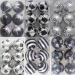 Pkt of 6 60mm Christmas Bauble Decorations  Black and Silver 6 assorted designs