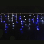292 Light LED Icicle Lights White and Blue on Clear Wire  12.5 metre
