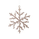 150 mm Light Pink Glitter Snowflake Christmas Tree Ornament