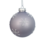 70mm Glass Snowflake Bauble Christmas Tree Decoration Grey