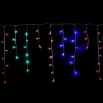 500 Light LED Icicle Lights Multi Colour on Clear Wire  21 metre