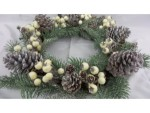 Frosted Green & Silver Wreath with White Berries